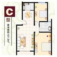 2室1厅1卫  107.3平米